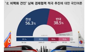 남북 경제협력 적극 추진 '찬성56.3% > 반대38.5%'