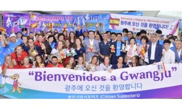 이용섭 시장, 7일 무안공항에서 열린 스페인 선수단 환영 행사 참석