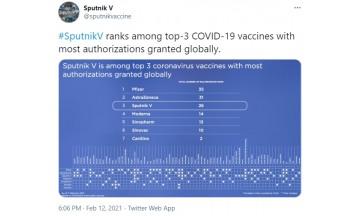 러시아 백신 스푸트니크V, 26개국 승인…모더나 제치고 3대 백신 등극